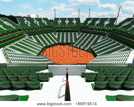 3D Render Of Beautiful Modern Tennis Clay Court Stadium With Green Chairs