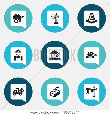 Set Of 9 Editable Building Icons. Includes Symbols Such As Notice Object , Handcart , Employee. Can Be Used For Web, Mobile, UI And Infographic Design.