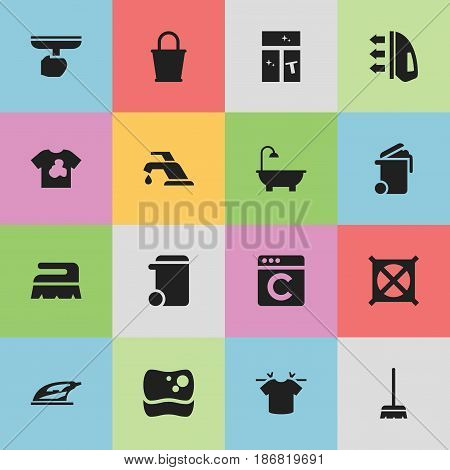 Set Of 16 Editable Cleanup Icons. Includes Symbols Such As No Laundry, Steam, Clean T-Shirt And More. Can Be Used For Web, Mobile, UI And Infographic Design.