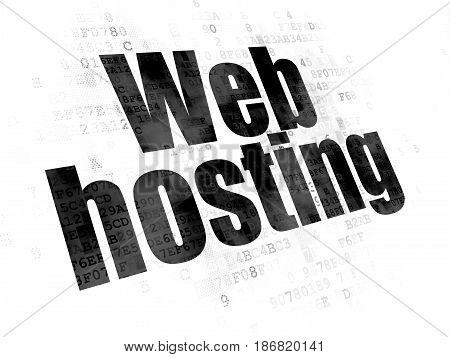 Web design concept: Pixelated black text Web Hosting on Digital background