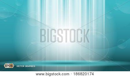 Blue waves lights sparkling effects background. Vector illustration for ads, print, infographics, flyer