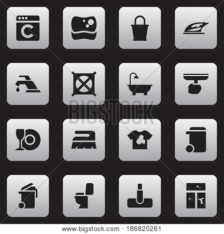 Set Of 16 Editable Cleaning Icons. Includes Symbols Such As Bathroom, Brush, Sweep And More. Can Be Used For Web, Mobile, UI And Infographic Design.