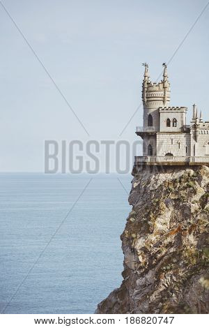 Swallow's Nest Castle in Crimea. Black sea landscape