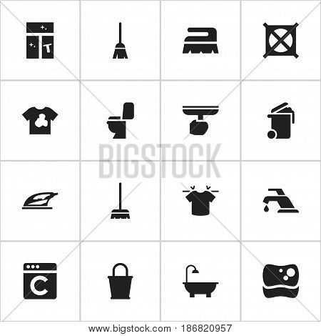 Set Of 16 Editable Dry-Cleaning Icons. Includes Symbols Such As No Laundry, Container, Clean T-Shirt And More. Can Be Used For Web, Mobile, UI And Infographic Design.