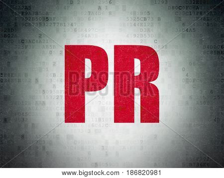 Advertising concept: Painted red word PR on Digital Data Paper background