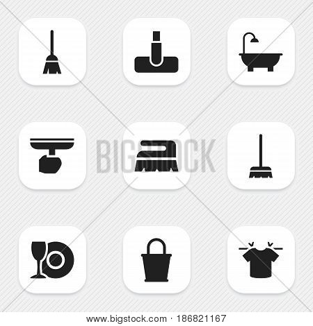Set Of 9 Editable Cleanup Icons. Includes Symbols Such As Hoover, Brush, Broomstick And More. Can Be Used For Web, Mobile, UI And Infographic Design.