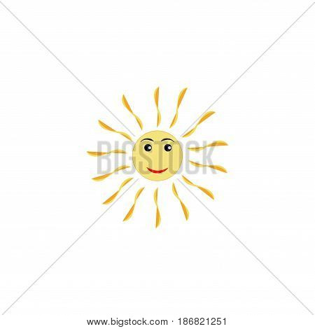 The sun sign on white background. Orange solar mark. Bright sunny icon good mood. Isolated logo spring summer. Symbol hot warm sunlight and good weather. Flat vector image. Vector illustration.
