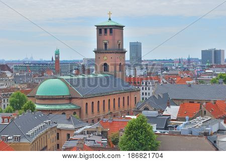 Denmark. Top-view of Copenhagen in a cloudy summer day