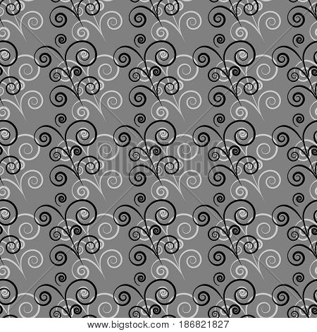 Black twig on gray seamless pattern. Fashion graphic background design. Modern stylish abstract texture. Monochrome template for prints textiles wrapping wallpaper website. Vector illustration