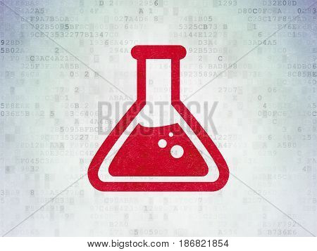 Science concept: Painted red Flask icon on Digital Data Paper background