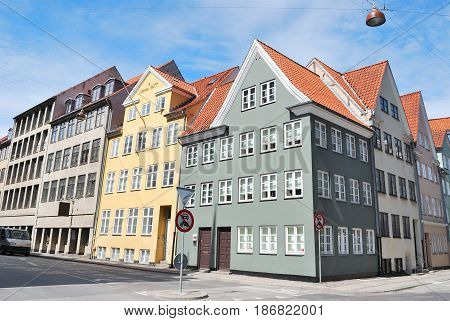 Copenhagen Denmark. Beautiful old buildings in the Old Town