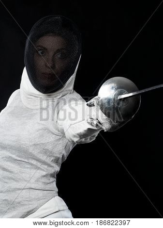 Portrait Of Woman Fencer