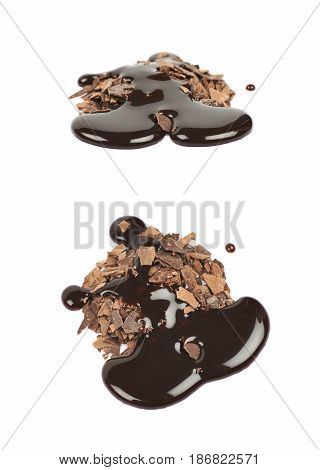 Pile of chocolate flakes with the liquid choco syrup spilled over it, composition isolated on the white background, set of two different foreshortenings
