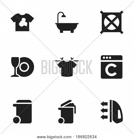 Set Of 9 Editable Cleanup Icons. Includes Symbols Such As Laundress, Dustbin, Unclean Blouse And More. Can Be Used For Web, Mobile, UI And Infographic Design.