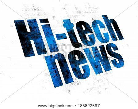 News concept: Pixelated blue text Hi-tech News on Digital background