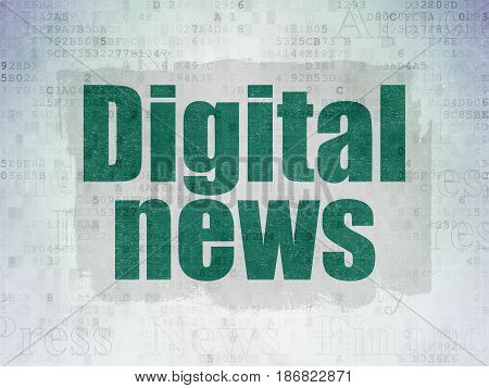 News concept: Painted green text Digital News on Digital Data Paper background with   Tag Cloud
