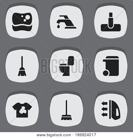 Set Of 9 Editable Cleaning Icons. Includes Symbols Such As Dustbin, Restroom, Faucet And More. Can Be Used For Web, Mobile, UI And Infographic Design.