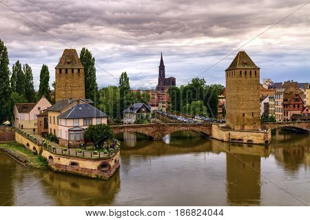 The twin watchtowers of the Ponts Couverts by day, Strasbourg, France