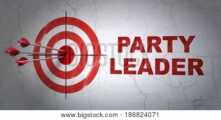 Success politics concept: arrows hitting the center of target, Red Party Leader on wall background, 3D rendering
