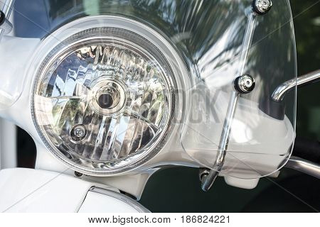 Motorcycle headlight lamp, Scooter headlight lamp with lamp light turned off and windshields.