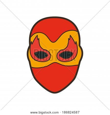 colorful silhouette with faceless female superhero with mask and flame eyes and thick contour vector illustration