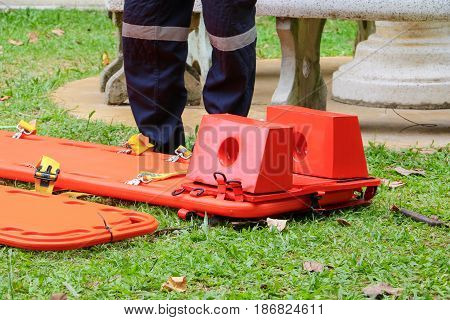 stretcher for emergency paramedic service medical equipment on lawn background