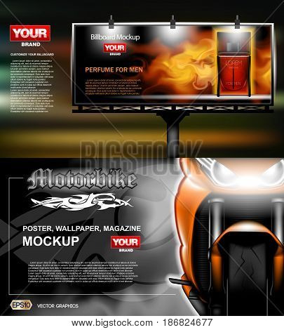 Digital vector orange new modern sport motorcycle close up mockup, red perfume with fire for men. Your brand, motor show and exhibition, lights on. Dark background, white fog. Realistic 3d