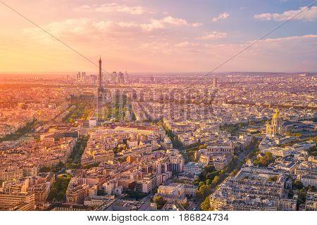 City of Paris. Aerial image of Paris, France during golden sunset hour.