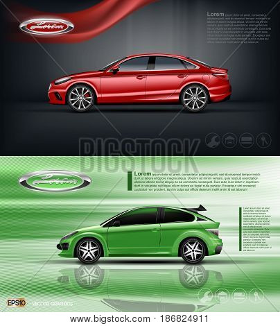 Digital vector red and green model sedan car with black windows mockup, your brand, ready for print ads or magazine design. Dark background with ribbon. Transparent and shine, realistic 3d style