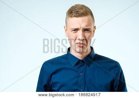 Sad Upset Young Man Isolated