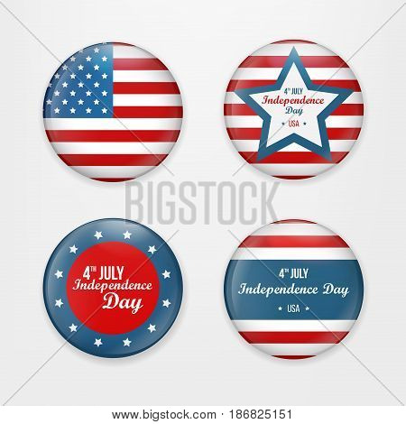 Set badge and labels isolated on white background for Independence Day. Happy Independence Day greeting card. Independence Day design. Vector illustration