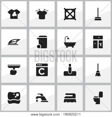 Set Of 16 Editable Cleaning Icons. Includes Symbols Such As No Laundry, Brush, Laundress And More. Can Be Used For Web, Mobile, UI And Infographic Design.