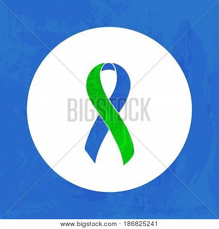 Awareness Blue and Green ribbon. Pseudo Tumor Cerebri. Isolated icon. Watercolor painted background