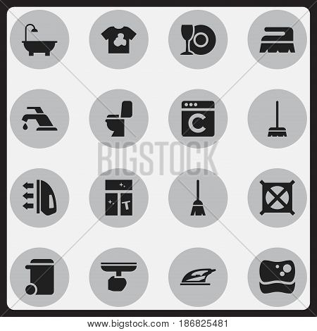Set Of 16 Editable Dry-Cleaning Icons. Includes Symbols Such As No Laundry, Washing Glass, Brush And More. Can Be Used For Web, Mobile, UI And Infographic Design.