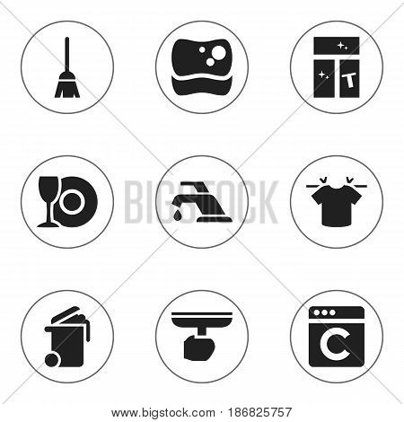 Set Of 9 Editable Dry-Cleaning Icons. Includes Symbols Such As Container, Washing Glass, Clean T-Shirt And More. Can Be Used For Web, Mobile, UI And Infographic Design.