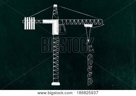 Career Text Being Build By A Tower Crane