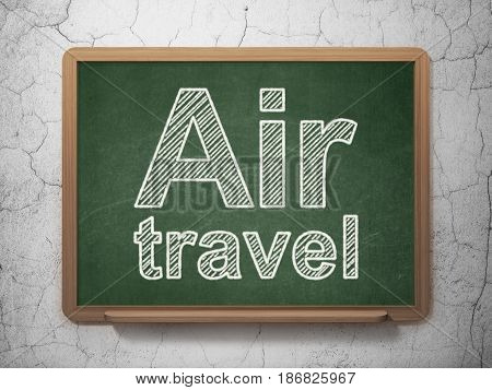 Travel concept: text Air Travel on Green chalkboard on grunge wall background, 3D rendering