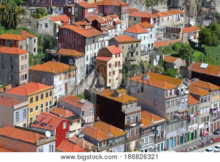 The roofs old Porto city from bird eye view at sunny summer day Portugal.