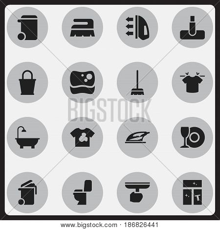 Set Of 16 Editable Cleanup Icons. Includes Symbols Such As Unclean Blouse, Washing Tool, Washing Glass And More. Can Be Used For Web, Mobile, UI And Infographic Design.