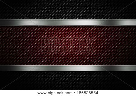 Abstract modern black and red colored perforated metal plate with polished metal plate banner place for text in center material design for background graphic design