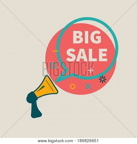 Megaphone with bubble with inscription big sale. Banner in retro style. Vector illustration
