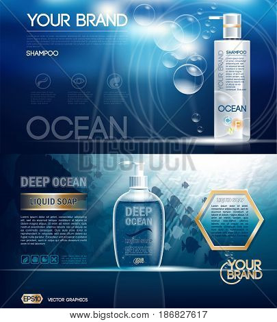 Digital vector ocean blue shower gel and soap mockup on water background with bubbles, oil skin pretector, your brand, ready for design. Realistic style