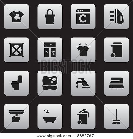 Set Of 16 Editable Cleanup Icons. Includes Symbols Such As Brush, Pail, Steam And More. Can Be Used For Web, Mobile, UI And Infographic Design.