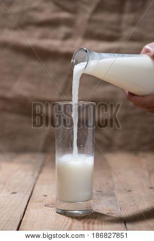 Milk. Image of Milk fall into glass.