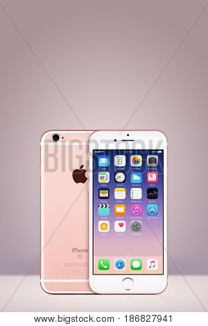 Varna, Bulgaria - March 10, 2016: Rose Gold Apple iPhone 7 with iOS 10 on the screen and back side on vertical gray gradient background with copy space. Quick mockup for your design.