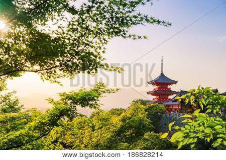 Sunset at Kiyomizu dera Temple in spring time in Kyoto Japan.