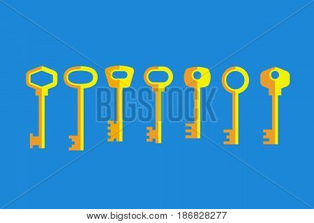Set of different gray keys on blue background. Flat style