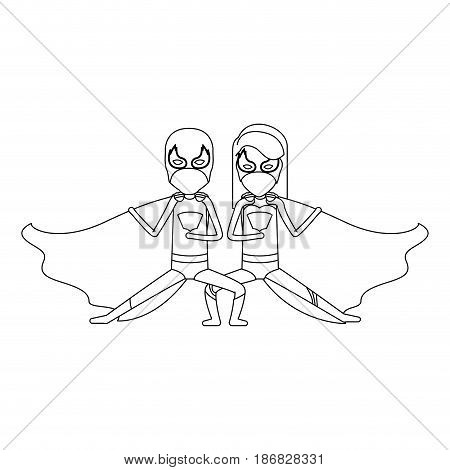 monochrome silhouette faceless of duo of superheroes in defensive pose and her with straight long hair vector illustration