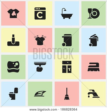 Set Of 16 Editable Cleaning Icons. Includes Symbols Such As Washing Tool, Container, Bathroom And More. Can Be Used For Web, Mobile, UI And Infographic Design.