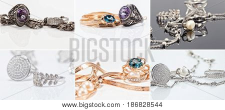 Jewelry In Different Shapes Of Silver And Gold